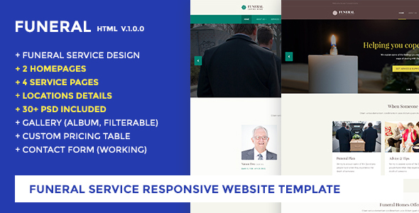 Funeral Service Website Template - Funeral Caring Home            TFx