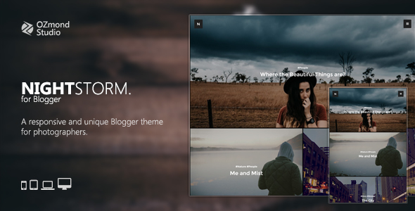 NightStorm: A Responsive & Unique Blogger Theme for Photographers            TFx