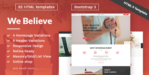 WeBelieve - Church, Charity, Nonprofit & Fundraising Responsive HTML5 Template            TFx