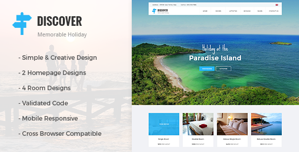 DISCOVER - Beach, Forest, Countryside Hotel & Resort HTML Template             TFx