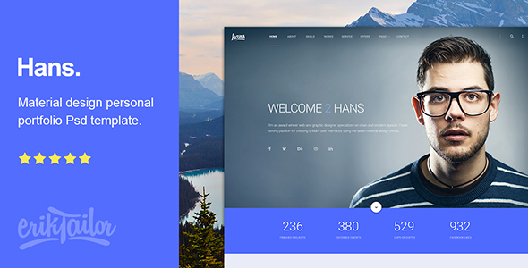 Hans - Material Design Personal Portfolio PSD Template            TFx