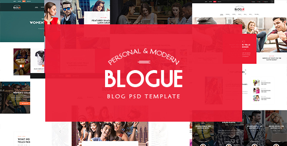 Blogue - Multi-Concept Personal Blog PSD Template            TFx