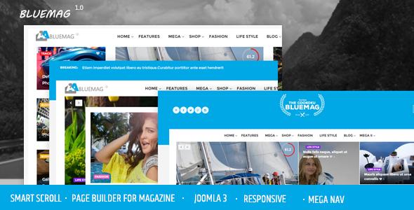 Bluemag - Magazine Blogging Joomla 3 Responsive Templates            TFx