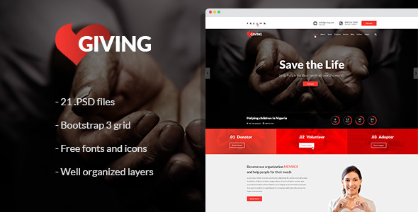 Giving - NGO and Charity PSD Template            TFx