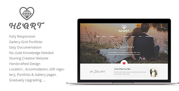 Heart Wedding Story, Event, RSVP Planner & Gallery Clean and Beautiful Responsive HTML5 Template            TFx