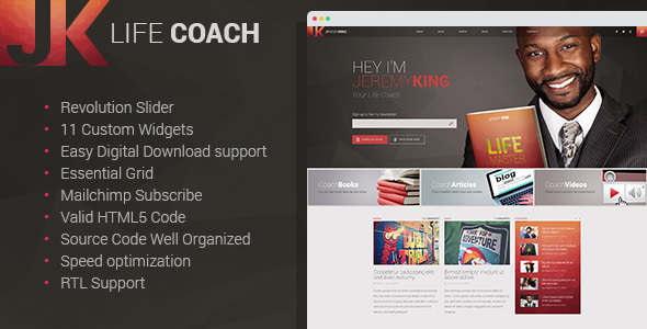 Life Coach - Personal Page WordPress theme            TFx