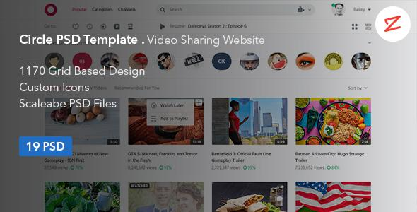 Circle: Video Sharing Website PSD Template            TFx