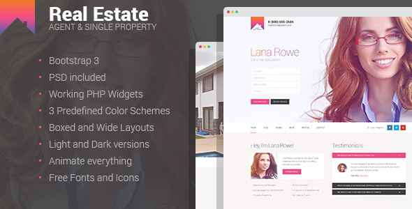 Real Estate - Agent & Single Property HTML template            TFx