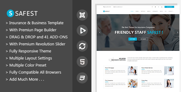 Safest - Insurance Agency & Business Joomla Template            TFx
