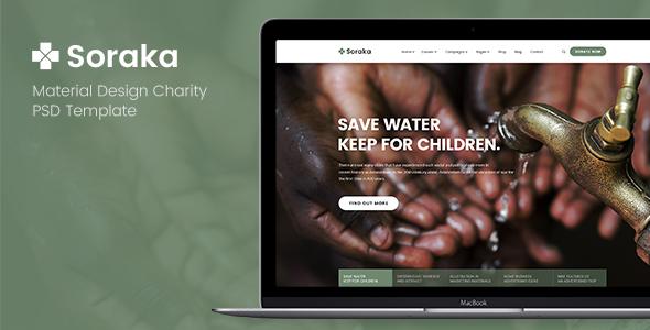 Soraka - Material Design Charity PSD Template            TFx