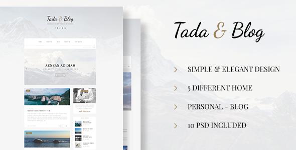 Tada & Blog - Personal Blog PSD            TFx