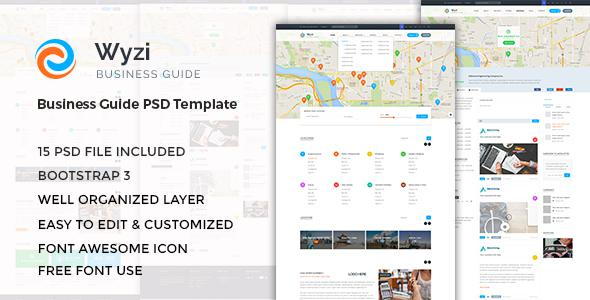 WYZI - Business Directory with Social Media Look PSD Template            TFx