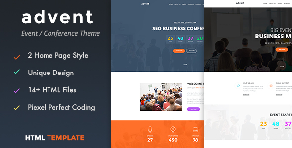 Advent - Conference & Event HTML Template            TFx
