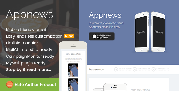 Appnews, Responsive Email Template for App Promo            TFx