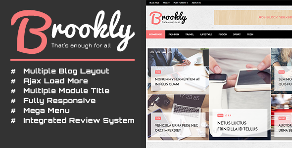Brookly - Fashion Magazine Blog WordPress Theme            TFx