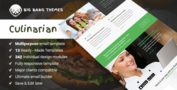 Culinarian - Multipurpose Restaurant Email + Builder Access             TFx