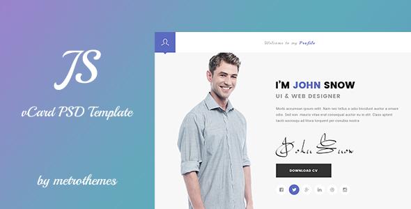 JS - Creative vCard & Resume Portfolio PSD Template             TFx