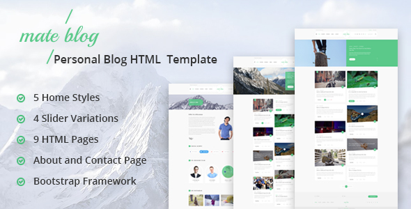 Mate Blog - Responsive Personal Blog Template            TFx