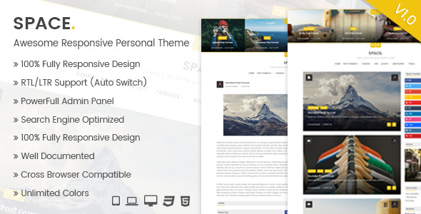 Space - Awesome Responsive Personal Theme            TFx