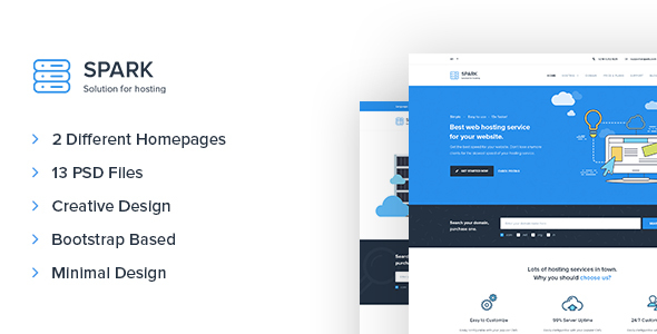 Spark – Minimal Hosting and Technology PSD Template            TFx