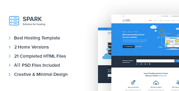 Spark - Responsive Hosting, Domain, Technology Site Template            TFx