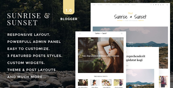 Sunrise & Sunset - Personal & Magazine Blogger Template            TFx