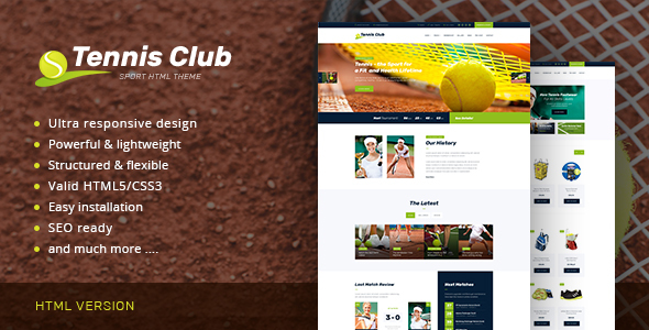 Tennis Club | Sports & Events Site Template            TFx
