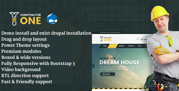 Constractor One - Construction & Home Renovation Drupal 8 Template            TFx
