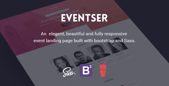 Eventster - Fully responsive event landing page template            TFx