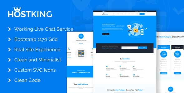 HostKing - Responsive Web Hosting Domain Technology Site Template            TFx