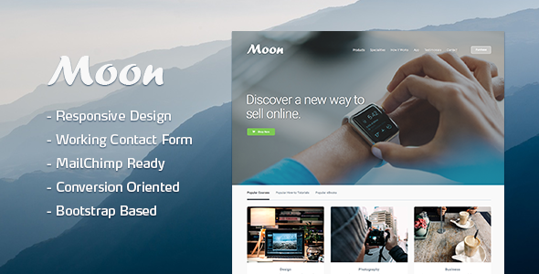 Moon Responsive Lead Generating Landing Page            TFx