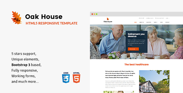 Oak House - Senior Care, Retirement, Rehabilitation Home HTML5 Template            TFx