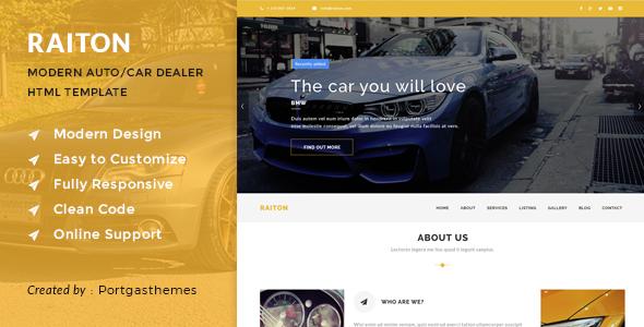 Raiton - Car Shop & Car Dealer HTML Template            TFx