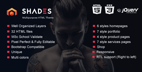 Shades - Creative Multipurpose Reponsive HTML5  template            TFx