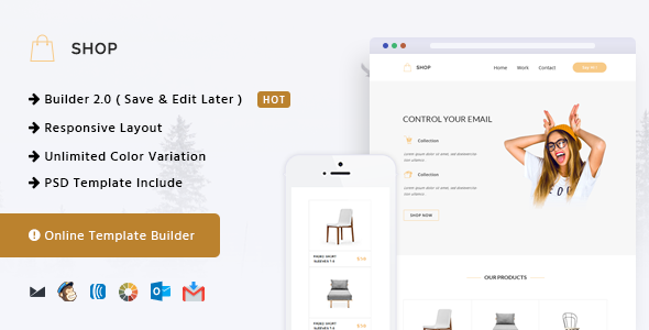 Shop - Responsive Email + Online Template Builder            TFx