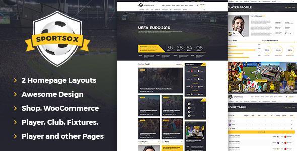 Sportsox | Sport Team Clubs PSD Template            TFx