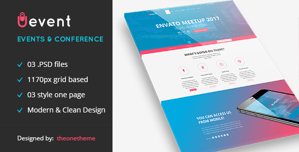 Uevent - One page Event Management PSD Template            TFx