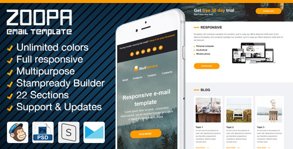 Zoopa - Responsive Newsletter with Email Template Builder            TFx