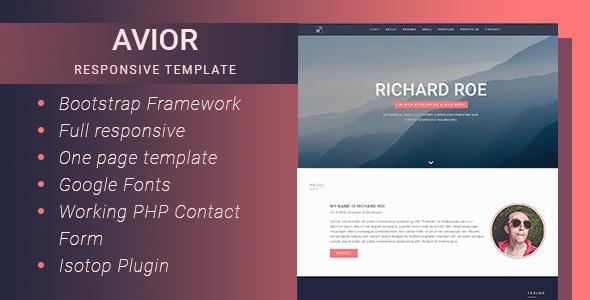 Avior - Responsive Portfolio Template            TFx