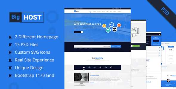 BigHost - Web Hosting Domain Technology PSD Template            TFx