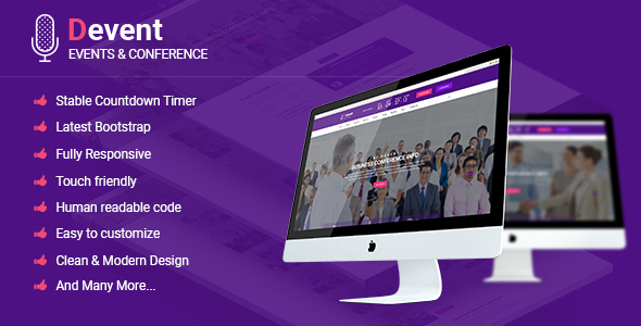 Devent - Events & Conference Site Template with Onepage & Multipage Feature            TFx