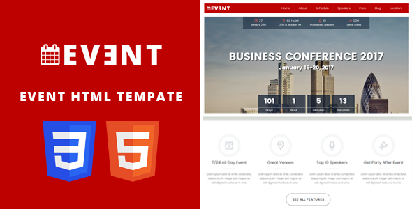 EVENT - Conference and Event HTML5/CSS3 Template.            TFx