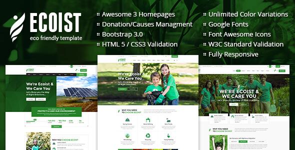 Ecoist - Environment & Non-Profit HTML Template            TFx