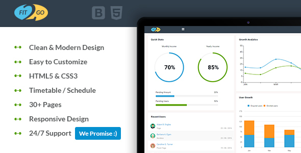 Fit2Go - Beautiful Gym Fitness Admin Template            TFx