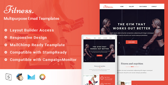 Fitness-Responsive Email Template + Stampready Builder            TFx