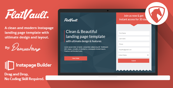 Flatvault - Instapage Landing Page Template            TFx