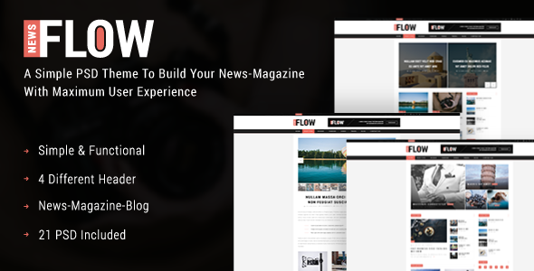 FlowNews - News and Magazine PSD Template            TFx