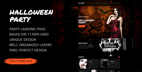 Halloween Party — Party Landing Page PSD Template            TFx