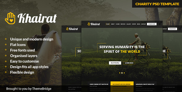 Khairat – Landing Page PSD Charity Template            TFx