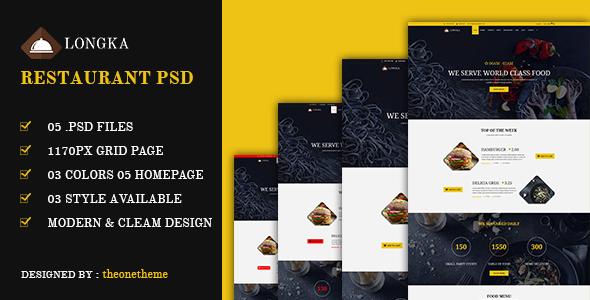 Longka - One Page Restaurant Website PSD Template            TFx
